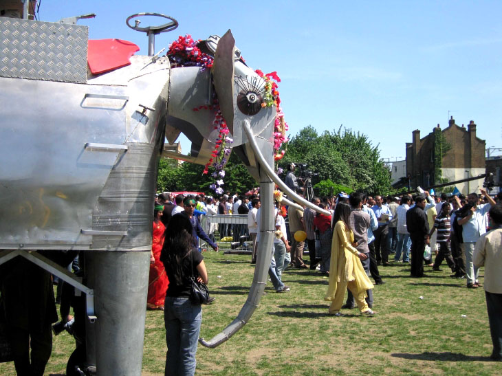Elephant and visitors at The Baishakhi Mela