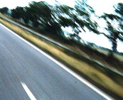 From a speeding motorcycle, experimental photograph