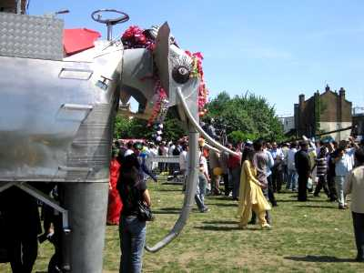 Elephant and crowd